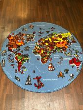 NEW WORLD MAP CHILDREN'S EDUCATIONAL CIRCLE 133X133CM MAT RUG SCHOOL MULTICOLOUR